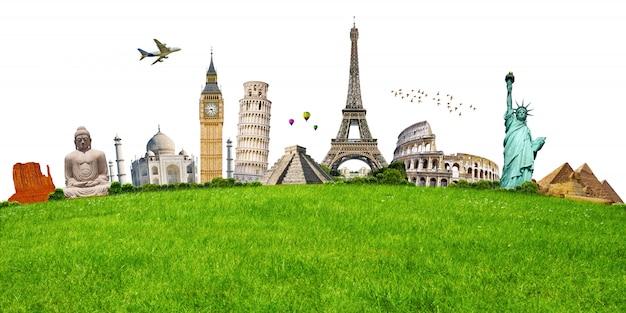 Illustration du célèbre monument sur l'herbe verte Photo Premium