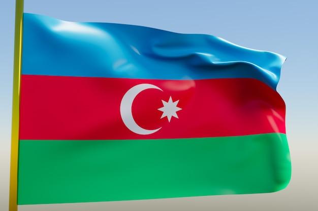 Illustration Du Drapeau National De L'azerbaïdjan Sur Un Mât En Métal Flottant Contre Le Ciel Bleu Photo Premium