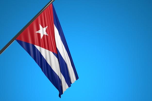 Illustration Du Drapeau National De Cuba Sur Un Mât En Métal Flottant Contre Le Ciel Bleu Photo Premium