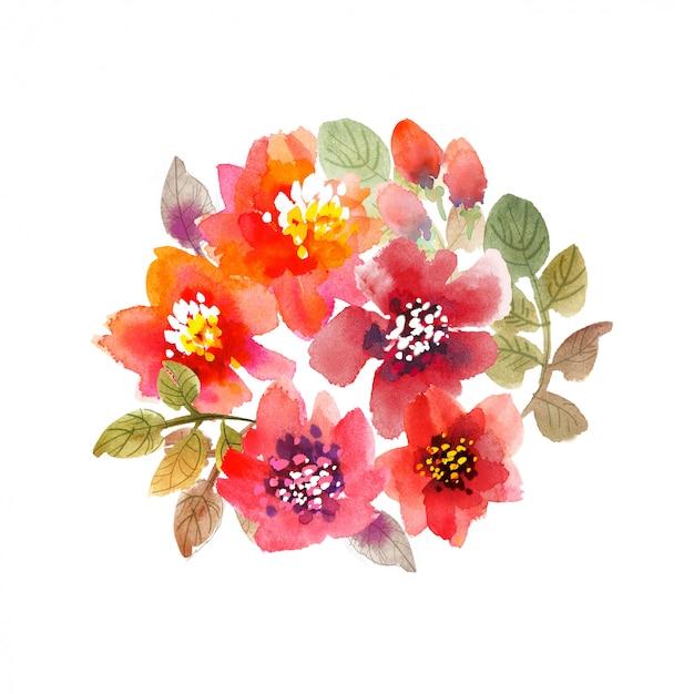 Illustration de fleurs aquarelle. fleurs d'été rose et rouge dessinés à la main Photo Premium