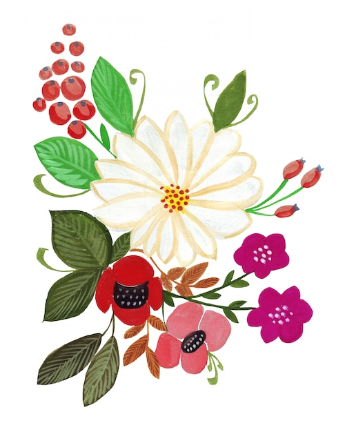 Illustration De Fleurs De Bouquet De Dessin Au Crayon Aux Couleurs Vives Photo Premium