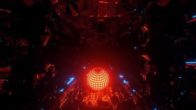 Illustration Futuriste Cool Avec Une Boule Disco Lumineuse Au Centre Photo gratuit