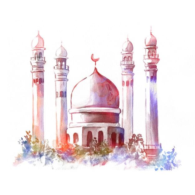 Illustration De La Mosquée Aquarelle. Concept Pour La Fête Musulmane Islamique. Photo Premium