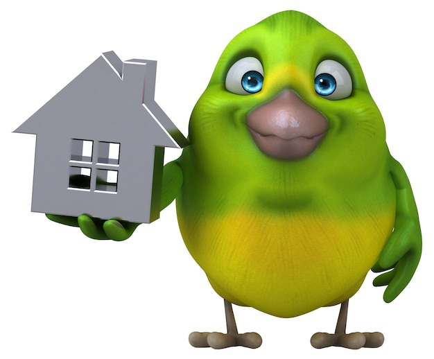 Illustration D'oiseau Vert Amusant Photo Premium