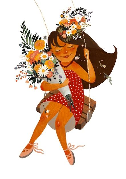 Illustration Avec Des Peintures Acryliques. Fille Volante Avec Des Fleurs Sur Une Balançoire. Peinture Couleur. Photo Premium