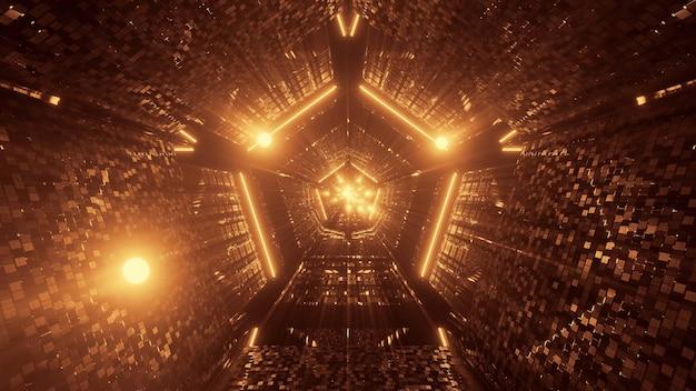 Illustration De Plusieurs Lumières Jaunes Disposées Sous La Forme D'un Pentagone Photo gratuit