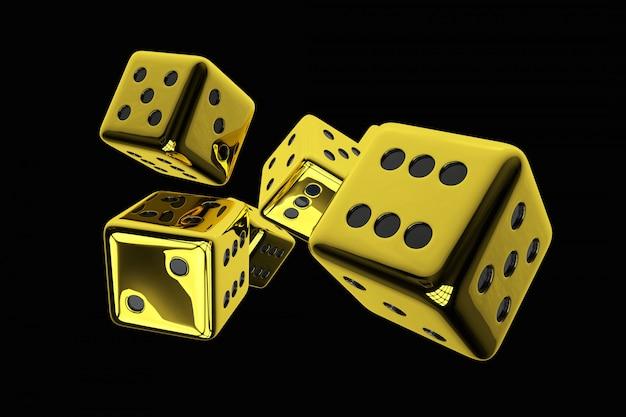 Illustration de rendu 3d de dés de casino doré brillant isolés sur fond noir uni. Photo Premium