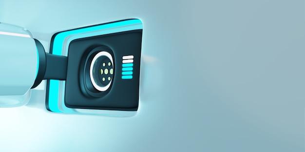Illustration de rendu 3d. chargeur de voiture électrique et prise sur le véhicule Photo Premium