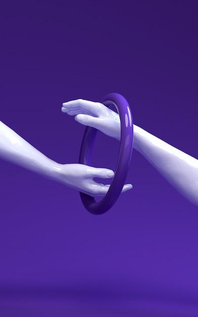 Illustration de rendu 3d de couleurs de peau différentes de deux mains se touchant. Photo Premium