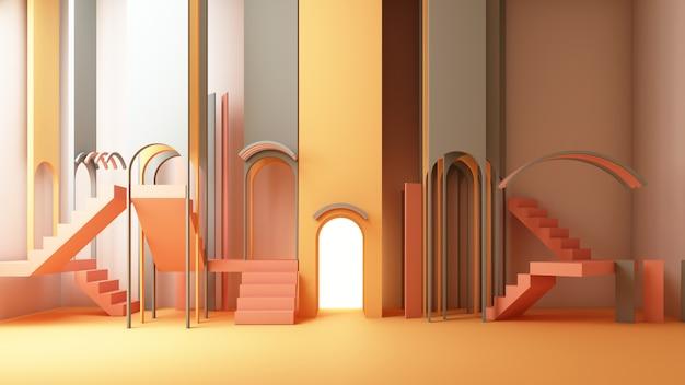 Illustration De Rendu 3d Dans Un Style Géométrique Moderne Arc Et Escalier Photo Premium