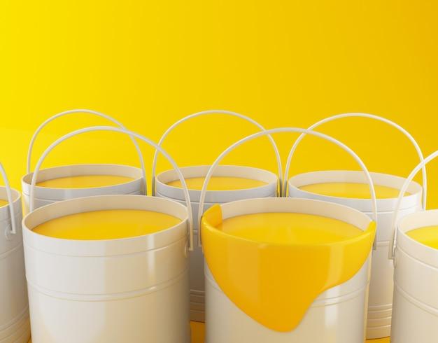 Illustration de rendu 3d. seaux de peinture complets sur fond jaune. Photo Premium