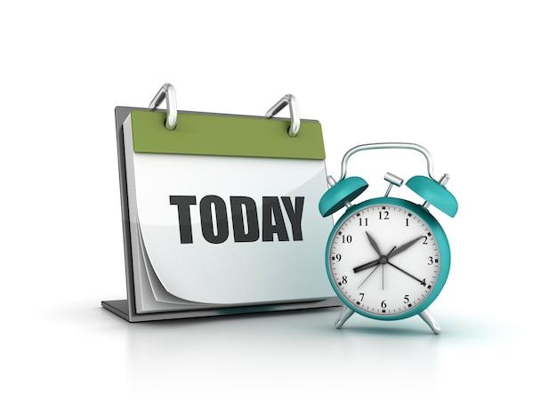 Illustration De Rendu De L'horloge Avec Le Calendrier Aujourd'hui | Photo  Premium