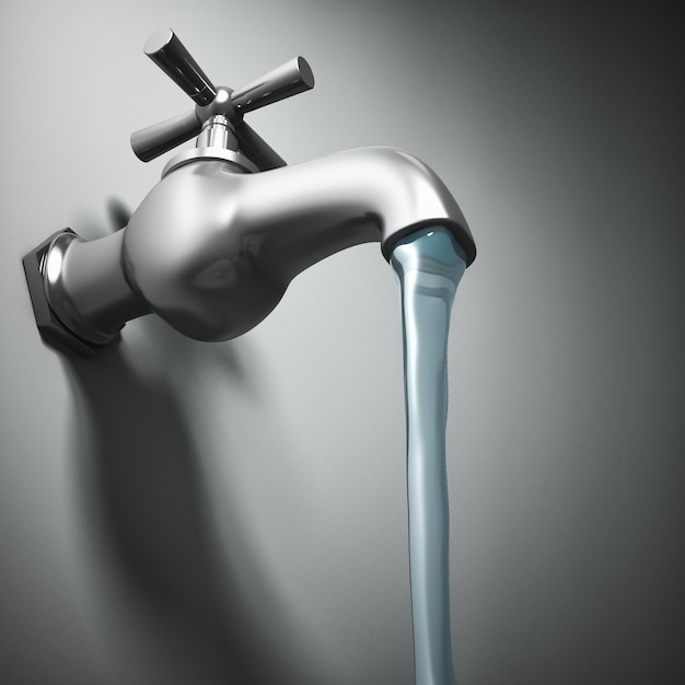 Image 3d Du Robinet En Métal Et De L'eau Courante Photo Premium