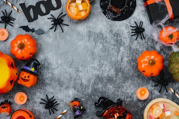 Image aérienne vue de dessus de table de décoration happy halloween day background Photo Premium