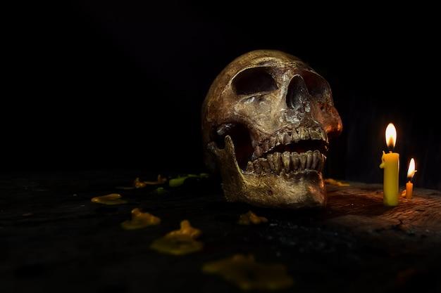 Image de crâne dans l'obscurité avec la lumière de la bougie. concept d'halloween Photo Premium