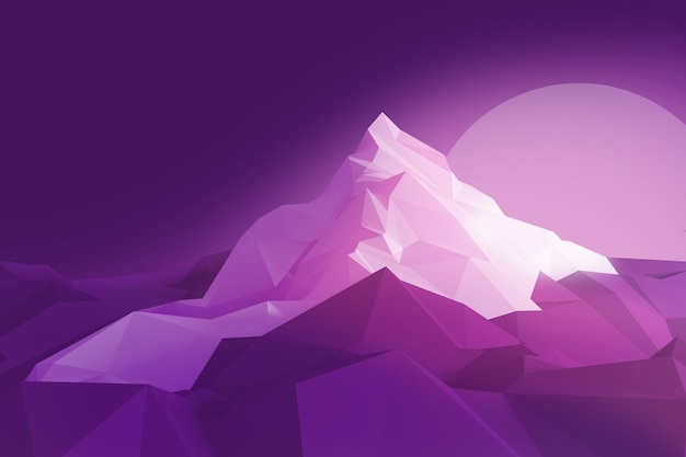 Image low-poly de la montagne et du soleil Photo Premium