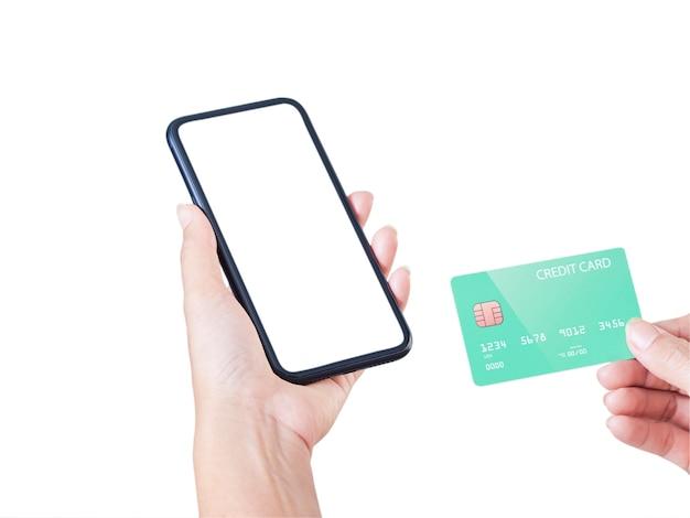 Image De Maquette De Main De Femme Tenant Un Téléphone Mobile, écran Blanc Et Carte De Crédit Photo Premium
