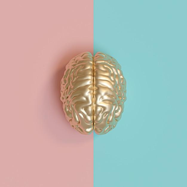 Image rednering 3d d'un cerveau humain d'or Photo Premium
