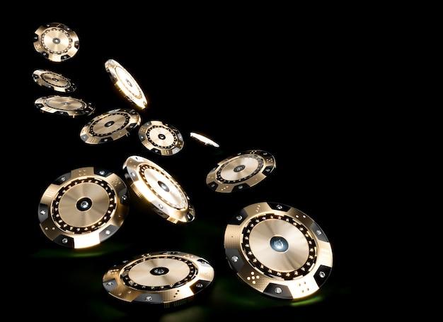 Image de rendu 3d de jetons de casino en noir et or avec insertions de diamants sur un fond sombre. Photo Premium