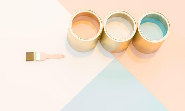 Image de rendu 3d de pots de peinture et des pinceaux Photo Premium