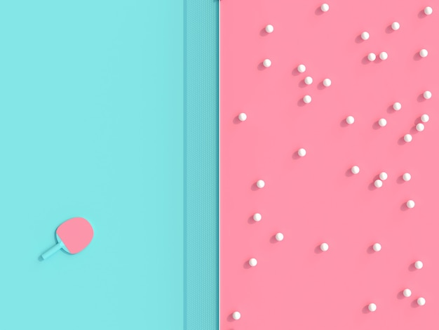 Image de rendu 3d sur le thème du ping-pong, balles et raquettes sur la table de jeu en deux couleurs Photo Premium