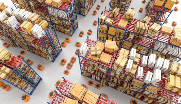 Image rendue 3d d'un entrepôt automatisé moderne avec des drones Photo Premium