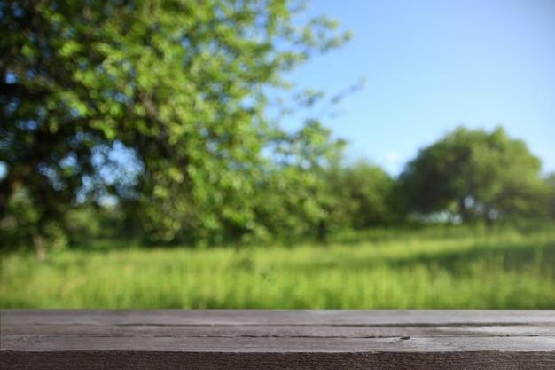 Image d'une table en bois grise devant un arrière-plan flou abstrait des arbres sur un pré vert Photo Premium