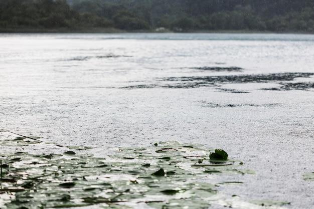 Impact des gouttes de pluie sur la surface de l'eau Photo gratuit