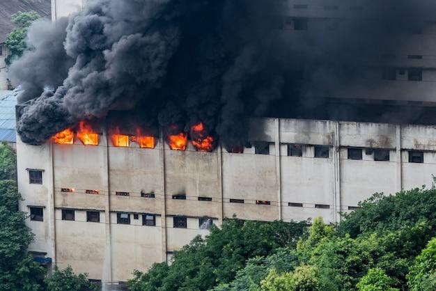 Un incendie s'est déclaré dans l'entrepôt et les pompiers l'éteignaient. Photo Premium