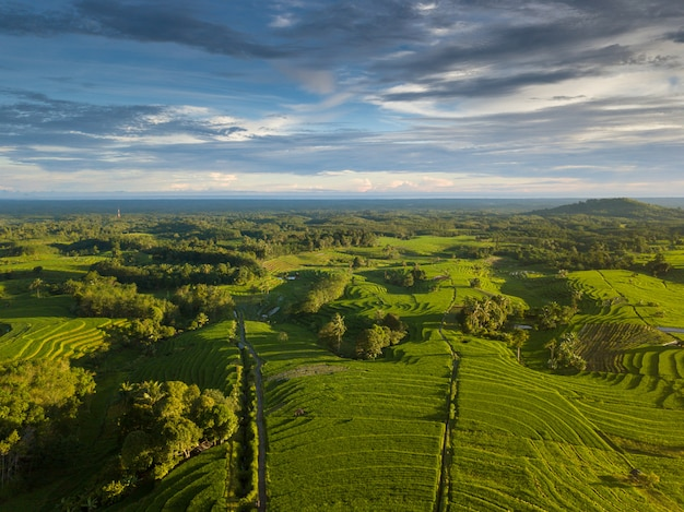 Indonésie beauté naturelle à partir de photos aériennes à la fois avec nuageux Photo Premium