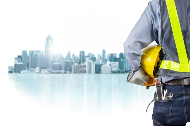 Ingénieur et ville Photo Premium