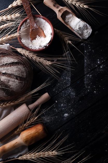 Ingrédients de cuisson. fond de nourriture Photo Premium