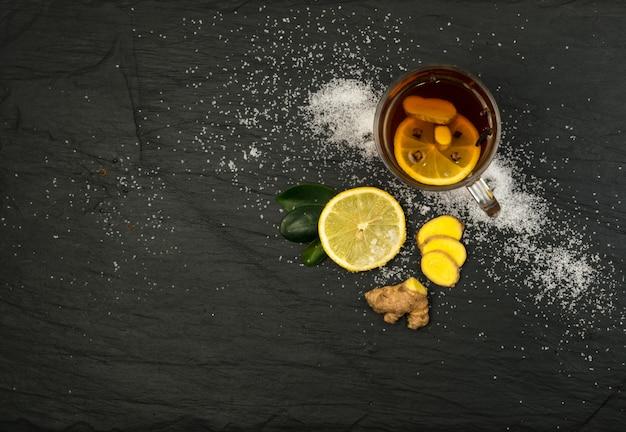 Ingrédients Du Thé Aux épices Et Au Citron Photo Premium