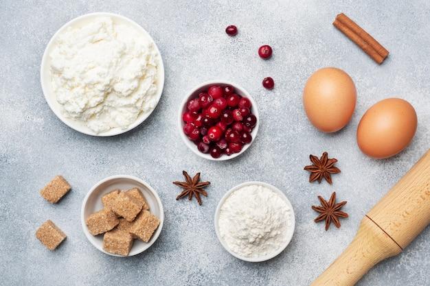 Ingrédients pour la cuisson des biscuits, des cupcakes et des gâteaux Photo Premium