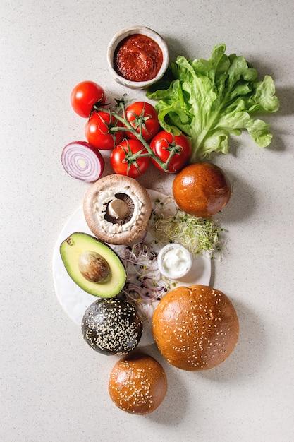 Ingrédients pour hamburgers Photo Premium