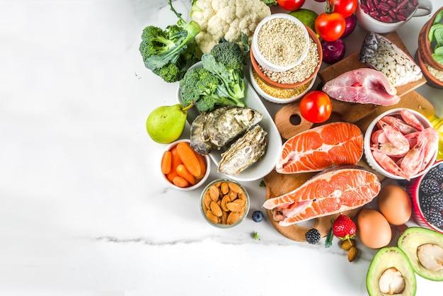Ingrédients de régime pescetarian Photo Premium