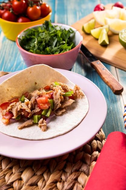 Ingrédients De Taco à Angle élevé Photo gratuit