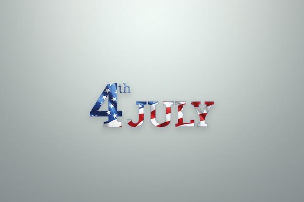 Inscription 4 juillet sur fond en bois pour la fête de l'indépendance des états-unis Photo Premium