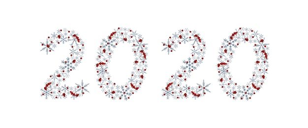 Inscription artistique élégante de nouvel an 2020 avec des flocons de neige gris et baies de rowan. éléments d'aquarelle Photo Premium