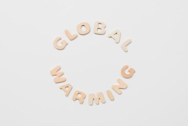 Inscription au réchauffement climatique sur fond blanc Photo gratuit