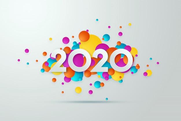 Inscription du nouvel an 2020 sur fond clair. Photo Premium