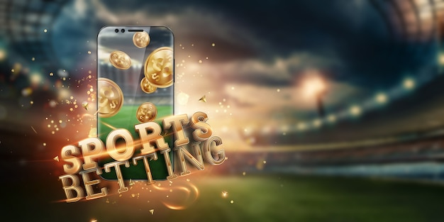 Inscription gold sports paris sur un smartphone sur le fond du stade. Photo Premium
