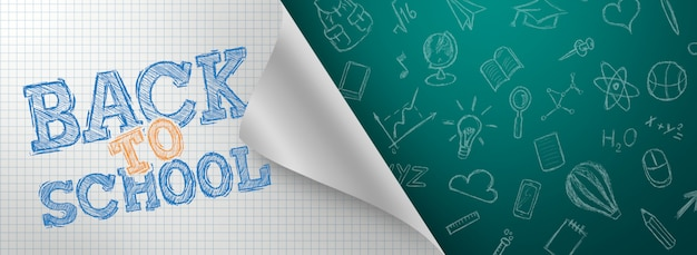 Inscription retour à l'école, éléments d'éducation. flyer, affiche Photo Premium