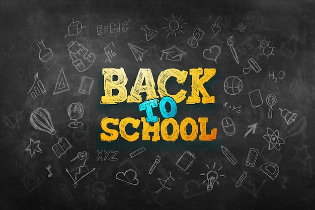 Inscription retour à l'école, éléments d'éducation Photo Premium