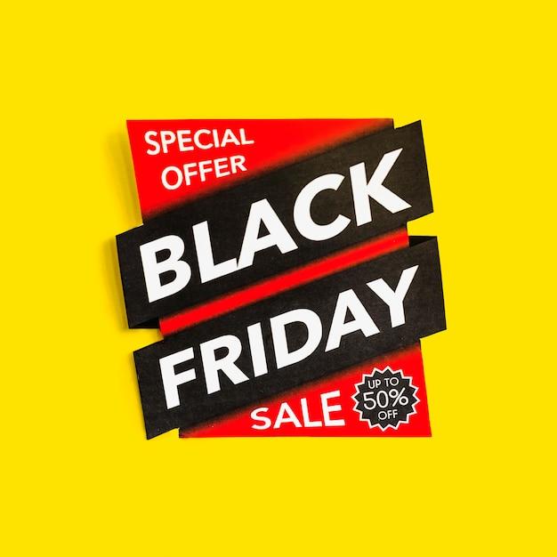 Inscription de vente vendredi noir sur fond jaune Photo gratuit