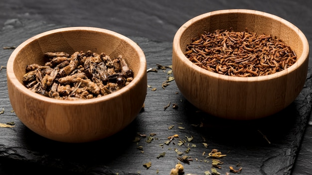 Insecte frit dans des bols en bois Photo gratuit