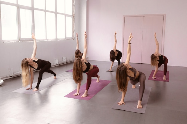 Instructeur De Yoga Formant Un Groupe De Femmes Photo Premium
