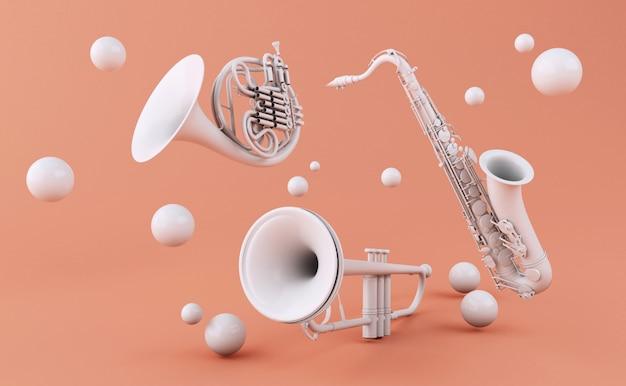 Instruments de musique 3d blancs Photo Premium