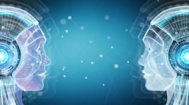 Intelligence Numérique Artificielle Interface Cyborg Rendu 3d Photo Premium
