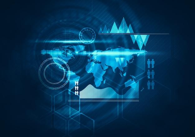 Interface utilisateur graphique virtuelle virtuelle de technologie commerciale futuriste Photo Premium